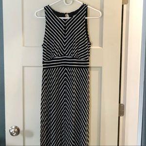 LOFT black and white stripe maxi dress